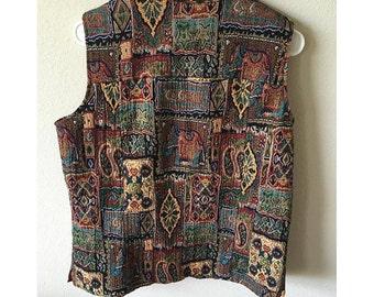 VTG womens aztec vest sz L