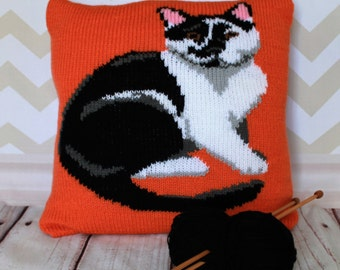 Knitting Pattern PDF Download - Black & White Cat Pet Portrait Pillow Cushion Cover