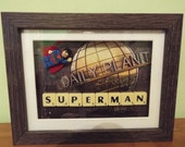 Superman Custom Lego Mini Figures with scrabble tiles in a frame