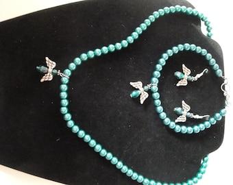 Teal Angel Jewelry Set