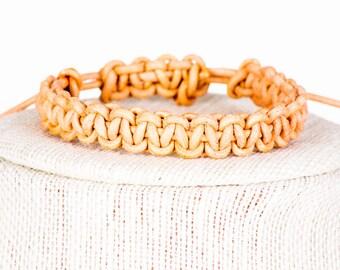 Natural Leather Macrame Bracelet