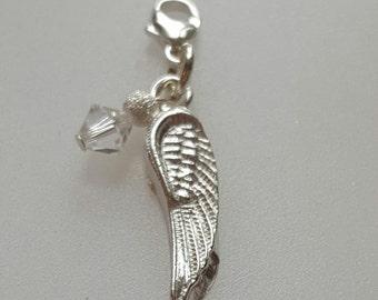 Angel Wing Charm Fine Silver Charm