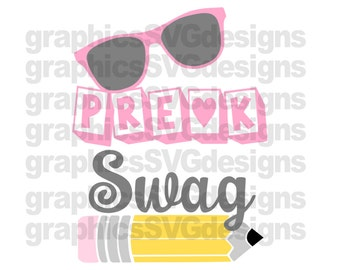 Pre-K Swag SVG and DXF File For Cricut and Cameo pre-k svg, back to school svg,preschool svg, first day of school svg, svg files