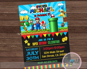 Super Mario Party Invitation, Super Mario Birthday Invitation, Super Mario  Birthday Party Invitation, Mario and Luigi,  Digital File