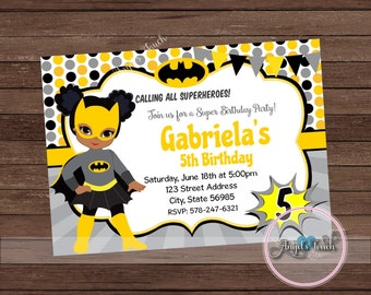 Bat Girl Party Invitation, African American Batgirl Invitation, Batgirl African American Birthday Invitation, Bat Girl, Digital File