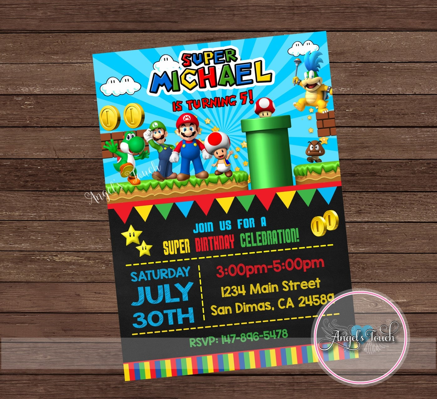 Super Mario Party Invitation Super Mario Birthday Invitation – Mario Party Invites