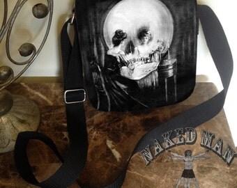 Vanity Mirror Skull, Black Small Shoulder Bag, Cross Body