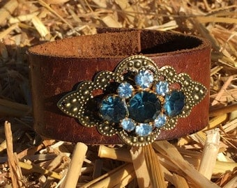 OOAK Upcycled Leather Belt Cuff with Blue Vintage Brooch Bling