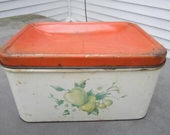 Vintage tin bread box, counter storage, cottage chic decor, farmhouse decor, red kitchen, rustic decor, food storage, Decorware, large tin