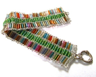 Multicolor @ green beaded bracelet