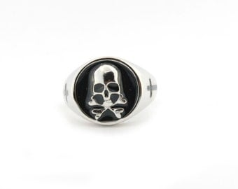 Skull ring Sterling Silver 925 sterling silver and Onyx model open white gold plated ring open model
