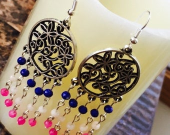 Boho multi color earrings.