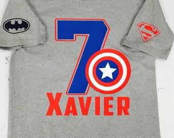 Captain America Birthday Shirt, Super Hero Birthday Shirt