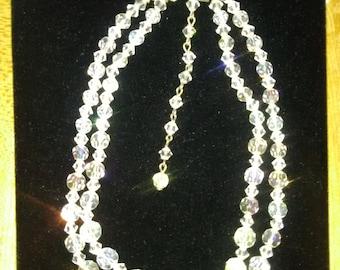 Vintage Sarah Coventry AB Aurora Borealis Crystal 2 strand Necklace/Choker