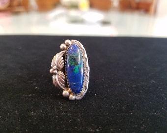 Navajo Sterling Blue-Green Malachite & Azurite Vintage Ring