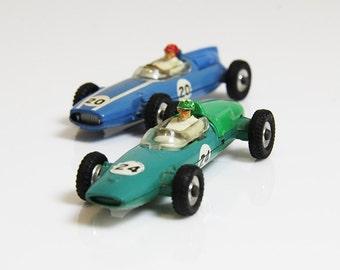 30s Formula 1 Racing Cars - Green & Blue - Dinky
