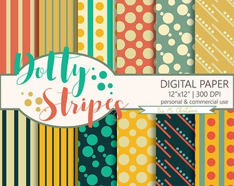 Retro Polka Dots Stripes Geometric Digital Paper Pack 'Retro Dotty Stripes' Scrapbook Paper Instant Download Commercial Use 12 x 12 Inches