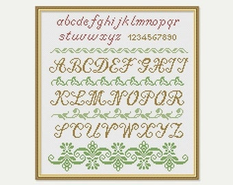 Cross Stitch Borders - Cross stitch Alphabet  - Cross Stitch Pattern -  Cross stitch Border - PDF - INSTANT DOWNLOAD