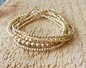 Gold Bracelet Stack/Gold Filled And Vermeil Style Nugget Bead Bracelet Stack