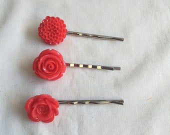 Coral Resin Flower Bobby-Pins