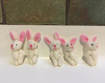 5 x Mini Rabbits with joints for favour / gift bags - with little loop for keychain / attaching