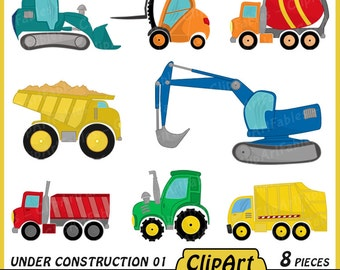 Under Construction clipart, Digital printable art, Truck clipart, Tractor design, Colorful Construction Trucks, Vehicles - Instant download