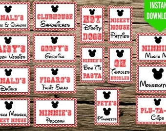 "Mickey Mouse Birthday Party Food Signs - 4""x6"" Printable - Instant Download - Food Tags - Food Label"