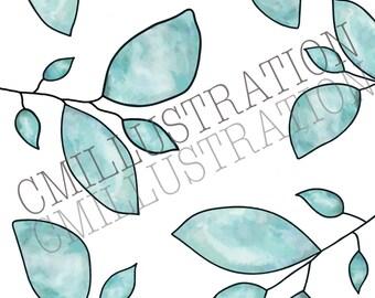 Aqua Leaf Watercolour Print