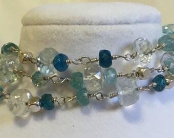 Aquamarine and Appetite triple strand bracelet