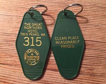 Weekend Sale! Gold Printed TWIN PEAKS inspired Great Northern Keytag - On Sale!