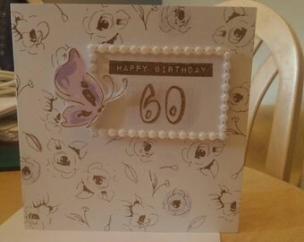 Flower and butterfly happy birthday age card