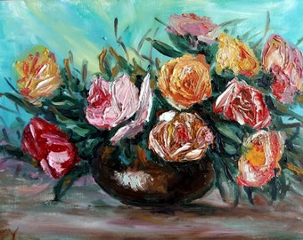 """Original Thick Oil Painting, Roses Flower, 20""""x16"""", pink, yellow, green"""