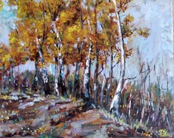 "Original Acrylic Painting, Autumn Trees, 161004, 16""x20"""