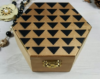 Hexagonal Geometric Jewelry Box, Black Gold Triangle Hexagon Mini Jewellery Wooden Box, Christmas Gift, Gift for Her
