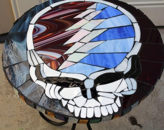 """Grateful Dead Table-Steal your Face-17 1/2"""" Round-Mosaics-Grateful Dead-Mosaic Tables-grateful dead tables"""