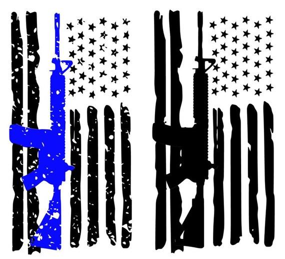 Law Enforcement With Ar15 American Flag Cutting File Studio