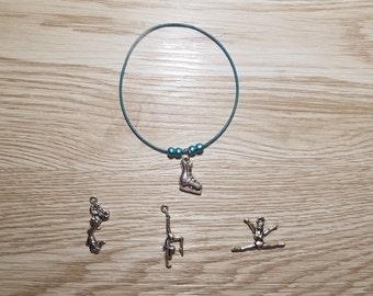 10 Blue Bracelets - Sport Series - Party favors. Ice skate, gymnastics, cheerleaders