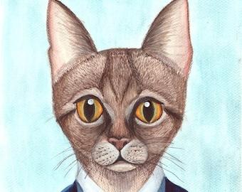 original cat art , cat painting , cat illstration , cat artwork , cat lover art , original watercolor , funny cat art , kitty art