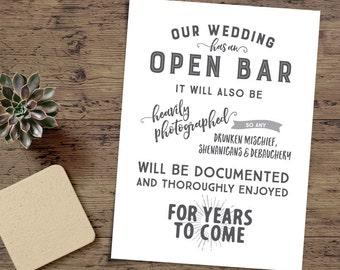 Printable Wedding Bar Signage, Funny Wedding Sign - INSTANT DOWNLOAD