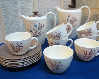 Poole Pottery Trudiana retro coffee set 6 cups and saucers