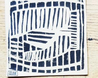 Composition 1 linocut black
