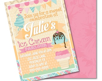 """Ice Cream Parlour Digital Printable Kids Pastel Sweet Popsicle Shoppe Birthday Party 5x7"""" Invitation PERSONALIZED"""