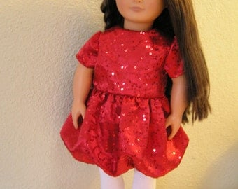 SALE on Red Satin Sequin Party/Christmas Dress with Bubble Skirt and White Tights for American Girl or 18 inch Doll