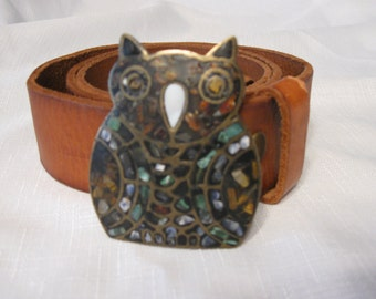 Vintage Lucky Brand Distressed Belt And Owl Belt Buckle