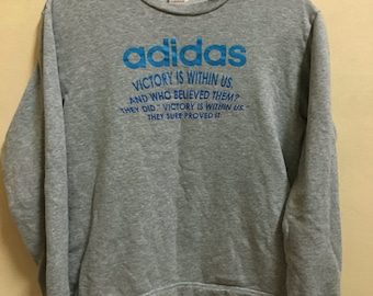 Vintage 90's Adidas Victory With Us Trefoil Grey 3 Stripes Sport Classic Design Skate Sweat Shirt Sweater Varsity Jacket Size M #A178