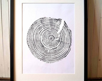 30 years old Spruce, Original Woodcut Print, Wall Decor