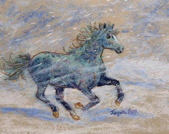 Pastel Painting titled Blue Pony