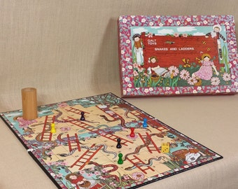Vintage Galt Toys Snakes & Ladders Lovely Childrens Board Game VGC Wooden Pieces