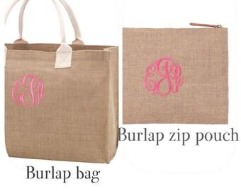 Monogrammed burlap bag / monogram zip pouch