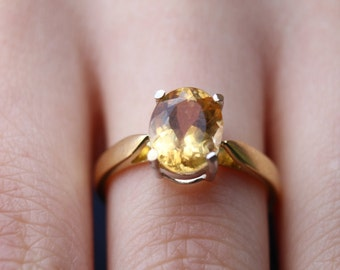 3ct Imperial Topaz Ring Yellow Gold Ring